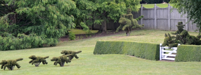 The classic view of the  topiary horses, riders and dogs at Ladew Topiary Garden in Maryland