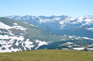General view out over the Gore Range from the Trail Ridge Road (Photograph taken July 1st - note how much snow is still present). At over 12,000 feet the vegetation is described as Alpine tundra. Trees cannot survive at this height.